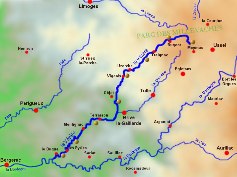 vallée de la vézère carte vallee de la Vezere